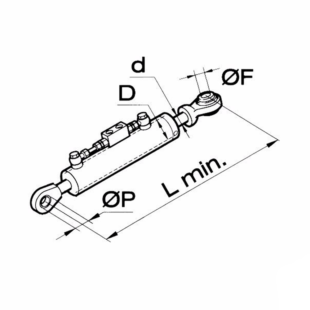 50468 Terzo punto idraulico per trattore tubi idraulici Faster 50648